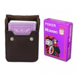 Purple Modiano Cristallo, Poker Size, 4 PIP w/ Leather Case