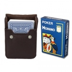 Dk Blue Modiano Cristallo, Poker Size, 4 PIP w/ Leather Case