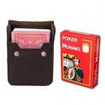 Red Modiano Cristallo, Poker Size, 4 PIP w/ Leather Case