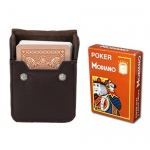 Brown Modiano Cristallo, Poker Size, 4 PIP w/ Leather Case