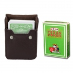 Lt Green Modiano Texas, Poker-Jumbo Cards w/ Leather Case