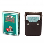 Dark Green Modiano Texas, Poker-Jumbo Cards w/ Leather Case