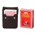 Red Modiano Texas, Poker-Jumbo Cards w/ Leather Case