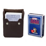 Blue Modiano Texas, Poker-Jumbo Cards w/ Leather Case