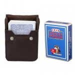 Light Blue Modiano Texas, Poker-Jumbo Cards w/ Leather Case