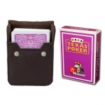 Purple Modiano Texas, Poker-Jumbo Cards w/ Leather Case
