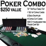 "Texas Hold 'Em Poker Combo Pack w/ 72"" Tri-Fold Table Top"