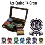 300 Ct Pre-Packaged Ace Casino 14 Gram Chips - Walnut