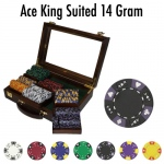 Pre-Pack - 300 Ct Ace King Suited Chip Set Walnut Case