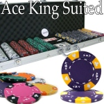 Pre-Pack - 600 Ct Ace King Suited Chip Set Aluminum Case
