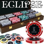 500 Ct Pre-Packaged Eclipse 14G Poker Chip Set - Walnut