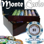 Pre-Pack - 750 Ct Monte Carlo Chip Set Mahogany Case