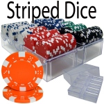 200 Ct - Pre-Packaged - Striped Dice 11.5G - Acrylic Tray