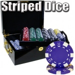500 Ct - Pre-Packaged - Striped Dice 11.5 G - Black Mahogany