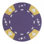 Roll of 25 - Purple - Ace King Suited 14 Gram Poker Chips
