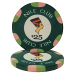 Roll of 25 - $25 Nile Club 10 Gram Ceramic Poker Chip