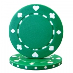 Roll of 25 - Green 7.5 Gram Suited Poker Chip
