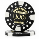 Roll of 25 - Black - Tournament Hot Stamp Poker Chips 12.5g