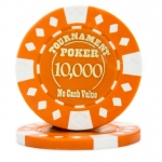 Roll of 25 - Orange - Tournament Hot Stamp Poker Chips 12.5g