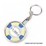 Chrome Plated Poker Chip Holder Key Chain