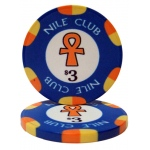 $3 Nile Club 10 Gram Ceramic Poker Chip