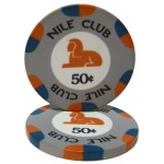 .50¢ (cent) Nile Club 10 Gram Ceramic Poker Chip