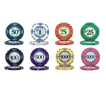 Scroll 10 Gram Ceramic Poker Chip Sample Pack - 8 Chips
