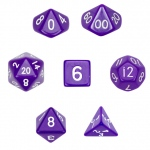 7 Die Polyhedral Dice Set  in Velvet Pouch-Opaque Purple