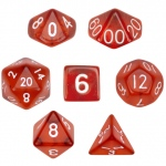 7 Die Polyhedral Dice Set  in Velvet Pouch- Translucent Red