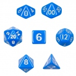 7 Die Polyhedral Dice Set  in Velvet Pouch- Opaque Blue