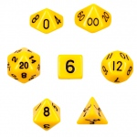 7 Die Polyhedral Dice Set in Velvet Pouch - Opaque Yellow
