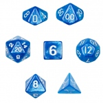 7 Die Polyhedral Dice Set  in Velvet Pouch- Horizon