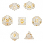 7 Die Polyhedral Dice Set in Velvet Pouch-Forbidden Treasure