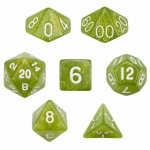 7 Die Polyhedral Dice Set in Velvet Pouch - Serpent