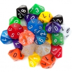 25 Pack of Random D10 Polyhedral Dice in Multiple Colors