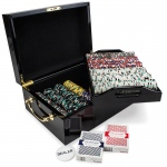 500ct Claysmith Gaming Poker Knights Chip Set Black Mahogany