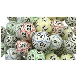Casino Supply Bingo Balls: Colored & Coated, 12 Sided Print, Ping Pong Size