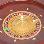 Casino Supply Roulette Wheel: 20 Inch Gloss Mahogany with Gold Finish Turret