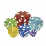 Casino Supply Acrylic Transparent Dice: Blue, Sold Individually, 50 mm / 2 Inch