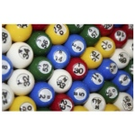 Casino Supply Plastic Colored Windowed Bingo Balls: 7/8 Inch, Set of 75