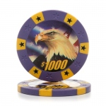 Casino Supply 11.5 Gram Eagle Poker Chips: Purple - $1000, 25 per Package