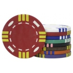 Casino Supply 14 Gram Triple Striped (Tri Color) Poker Chips: Black, 25 per Package