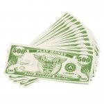 Casino Supply Paper Play Money Bulk: Denomination - $500, Package of 1000