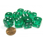 Casino Supply Economy Transparent Dice: Green, 16mm, Pack of 10