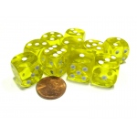 Casino Supply Economy Transparent Dice: Yellow, 16mm, Pack of 10