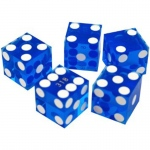 Casino Supply New Casino Dice: Blue, Serialized, 3/4 Inch, Set of 5